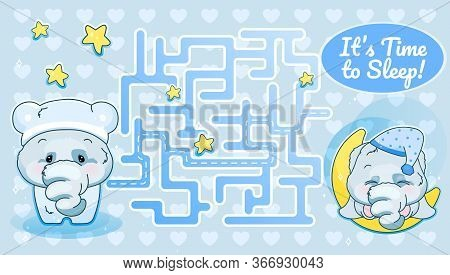 Its Time To Sleep Labyrinth With Cartoon Character Template. Elephant In Pajamas Find Path Maze With