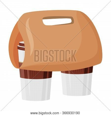 Take Out Order Cartoon Vector Illustration. Americano In Convenient Disposable Package. Coffee Break