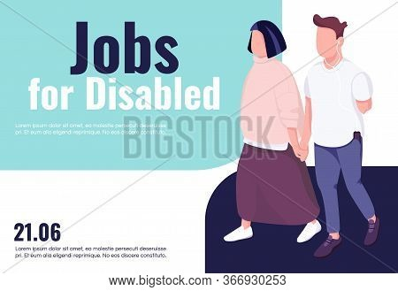 Jobs For Disabled Banner Flat Vector Template. Brochure, Poster Concept Design With Cartoon Characte