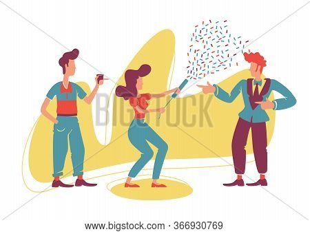 Retro Style Party 2d Vector Web Banner, Poster. Old Fashioned Guys And Attractive Girl With Confetti