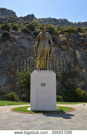 Turkey, Selcuk, Ephesus - August 16, 2017: The Statue Of The Virgin Mary In The Yard Of The House Of