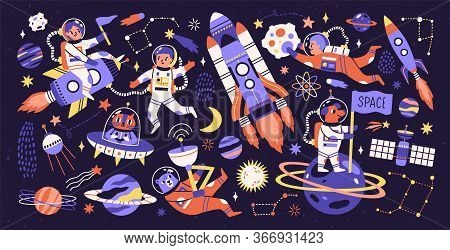 Cartoon Colorful Characters Astronaut, Asteroid, Comet And Space Object Set Vector Flat Illustration