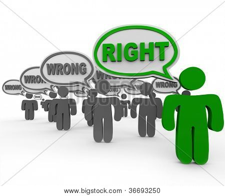 One person or student out of several people in a class or crowd says the right answer or word while many others speak a wrong or incorrect response