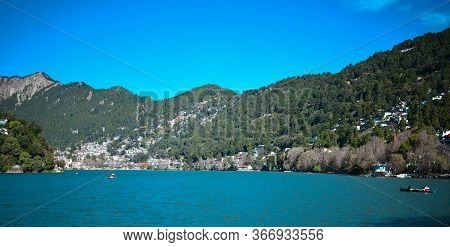 Blue Lake And Clear Sky Landscape India