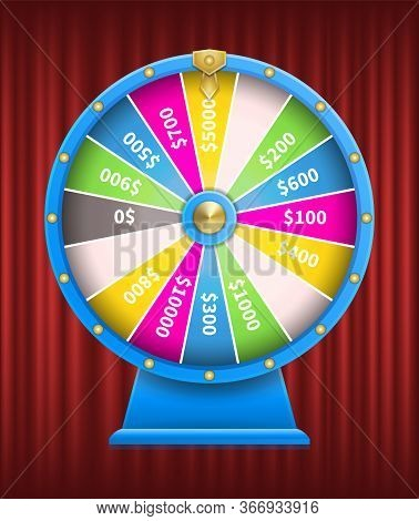 Casino Games Gambling Vector, Fortune Wheel With Numbers Flat Style. Playing On Money, Earning Coins