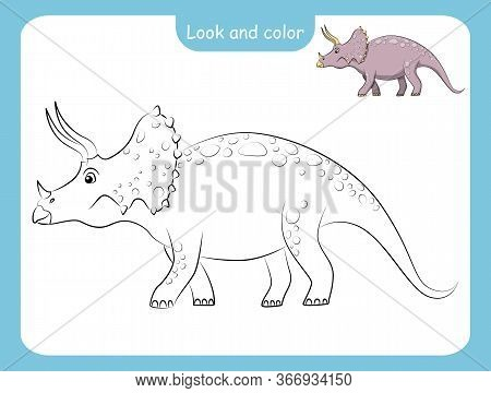 Look And Color. Coloring Page Outline Of Dinosaur With Colored Example. Vector Illustration, Colorin