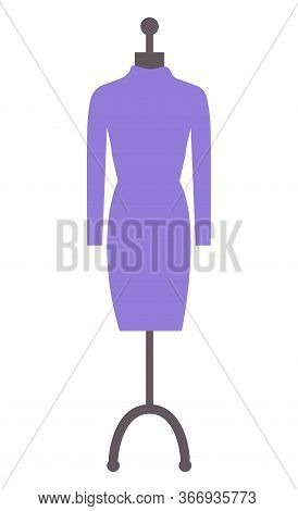 Dress On Mannequin, Retail Object, Boutique Element. Design Of Purple Cloth, Sewing Glamour Clothes,