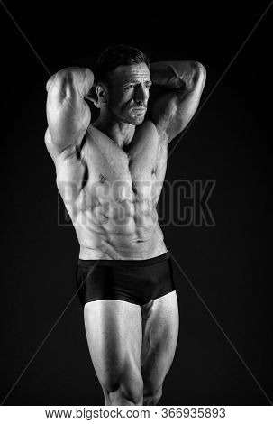 Power Of Muscles. Satisfied With Result Of Trainings. Bodybuilding Sport. Perfect Shape. Bodybuilder