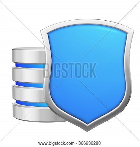Database Behind Metal Blue Shield Protected From Unauthorized Access, Data Protection Concept, 3d Il