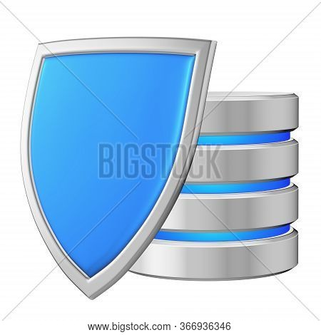 Database Behind Metal Blue Shield On Left Protected From Unauthorized Access, Data Protection Concep