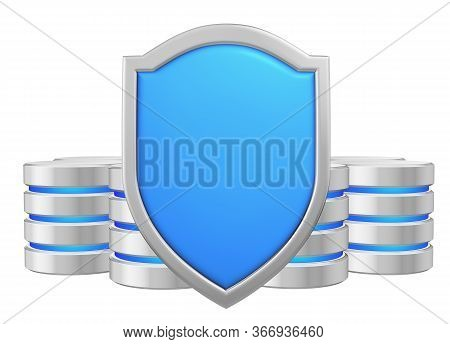 Data Bases Group Behind Blue Metal Shield Protected From Unauthorized Access, Data Protection Concep