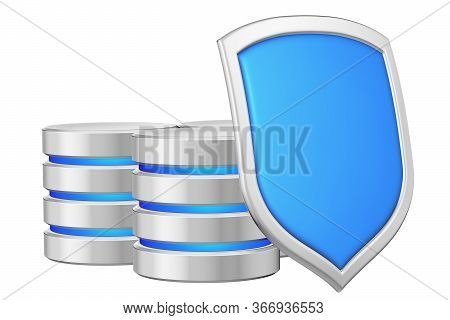 Databases Group Behind Metal Blue Shield On Right Protected From Unauthorized Access, Data Privacy C