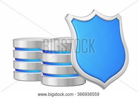 Data Bases Group Behind Metal Blue Shield On Right Protected From Unauthorized Access, Data Privacy
