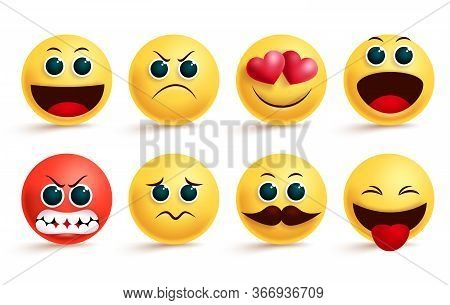 Emoji Vector Set. Yellow Emoji And Emoticon With Cute Angry, In Love, Sad And Excited Facial Express