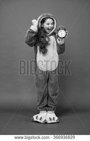 Counting Time. Rest And Relax. Bunny Kid Red Background. Baby Animal. It Is Weekend. Adorable Bunny