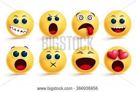 Emoticon Vector Set. Emoji And Yellow Face Emoticons With Dizzy, Shouting, In Love And Happy Cute Fa