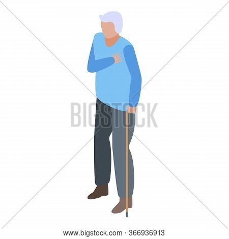 Senior Man At Cardiologist Icon. Isometric Of Senior Man At Cardiologist Vector Icon For Web Design