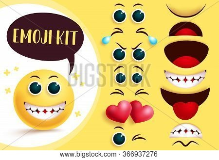 Emoji Vector Creation Kit. Emoticon And Emoji Yellow Face With Editable Eyes And Mouth And Happy Fac