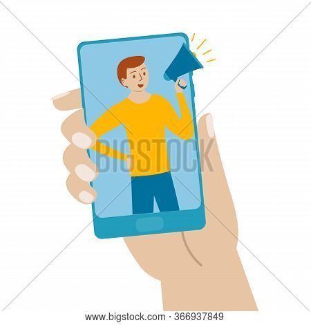 Hand Phone Man Calls Friends Through Megaphone. Hand Holds The Phone. On The Screen A Man