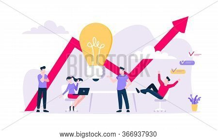 Brainstorming Business Meeting Concept Flat Style Design Vector Illustration. Teamwork With People T