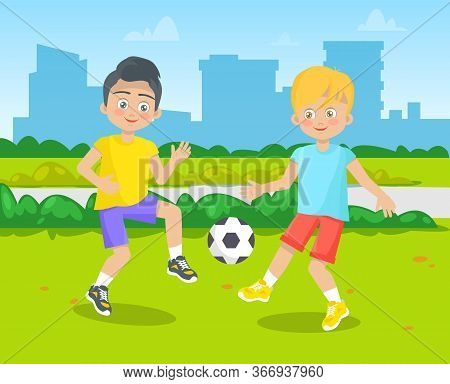 Classmates Playing On Green Ground, Pupils Activity Outdoor. Boys Kicking Ball, Building View, Child