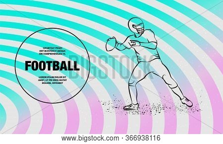 American Football Quarterback Throws The Ball. Vector Outline Of Football Player Sport Illustration.