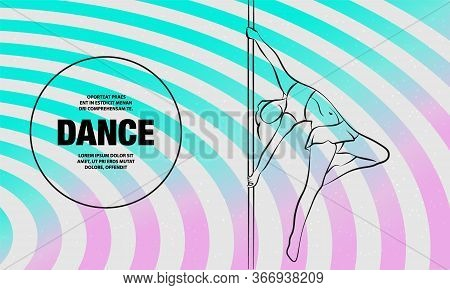 Girl On The Pole. Vector Outline Of Pole Dance Illustration.
