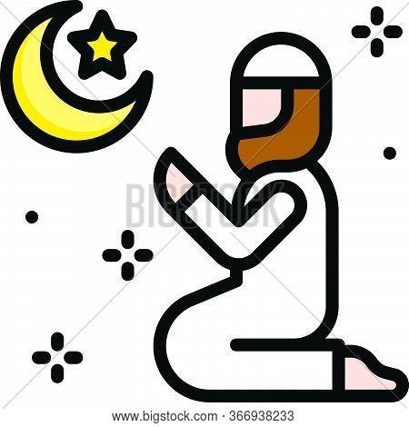 Islamic Prayer Icon, Ramadan Festival Related Vector Illustration