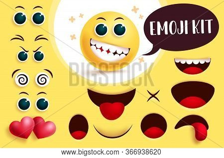 Emoji Vector Create Kit. Yellow Face Emoji And Emoticon With Editable Eyes And Mouth To Create Cute