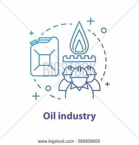 Oil Industry Concept Icon. Petroleum Production Idea Thin Line Illustration. Industrial Factory Work