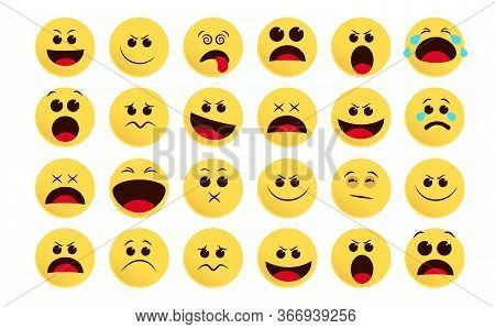 Emoticon Icon Vector Set. Emoji And Flat Emoticon In Different Facial Expression Like Sad, Surprise,