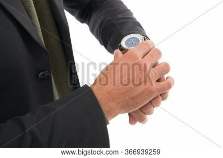 Right Now. Wrist Watch On Male Hand. Adjusting Or Checking Watch. Mans Watch. Fashion Accessory. For