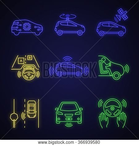 Autonomous Car Neon Light Icons Set. Self-driving Automobile, Lidar, Satellite Control. Sensors Dete