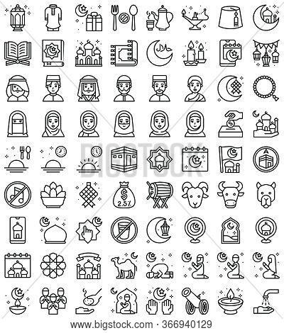 Ramadan Festival Related Vector Icon Set, Line Design