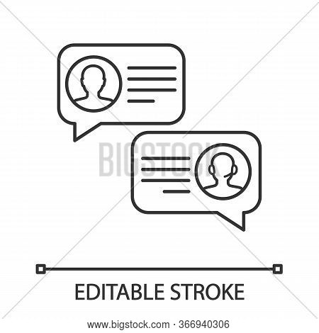 Customer Live Chat Linear Icon. Clients Care Service. Thin Line Illustration. Online Communication W