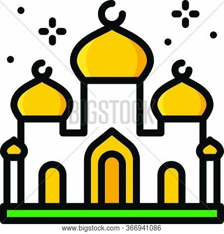 Mosque Or Masjid Icon, Ramadan Festival Related Vector Illustration