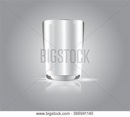 White Glass Isolate On Gray Light Background