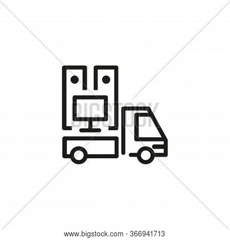 Icon Of Moving Truck. Move Out, Truck, Furniture, Staff. Delivery Concept. Can Be Used For Topics Li