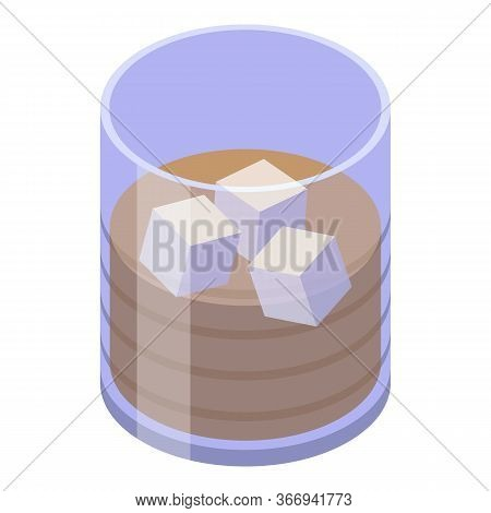 Cold Ice Cube Cocktail Icon. Isometric Of Cold Ice Cube Cocktail Vector Icon For Web Design Isolated