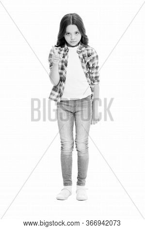 Be Aware Of. Upbringing Versatile Personality. Childhood Concept. Girl Child Stand White Background.