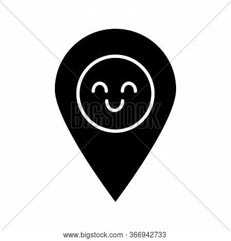 Smiling Map Pin Character Glyph Icon. Easy Gps Navigation. Happy Map Pinpoint, Marker. Emoji, Emotic