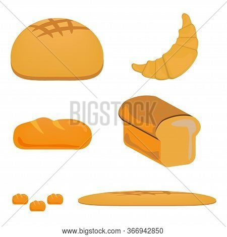 Bread Icon Design Set Food. Fresh Bakery, Loaf, Bun, Croissant And Baguette