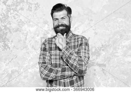 Charisma Concept. Best Beard Design Shape Facial Hair. Bearded Hipster Brutal Guy. Nice Beard Distin