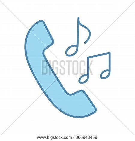 Call Ringtones Color Icon. Incoming Call Melody. Handset With Musical Notes. Isolated Vector Illustr