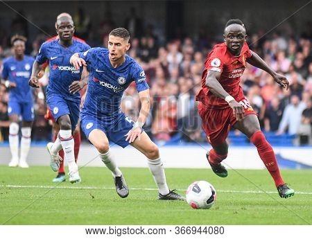 London, England - September 22, 2019: Jorge Luiz Frello Filho (jorginho) Of Chelsea (l) And Sadio Ma