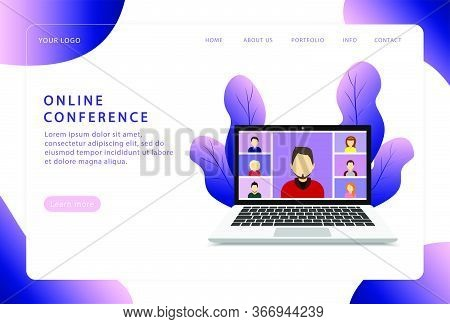 Online Conference. Video Conference. Landing Page. Modern Web Pages For Web Sites.