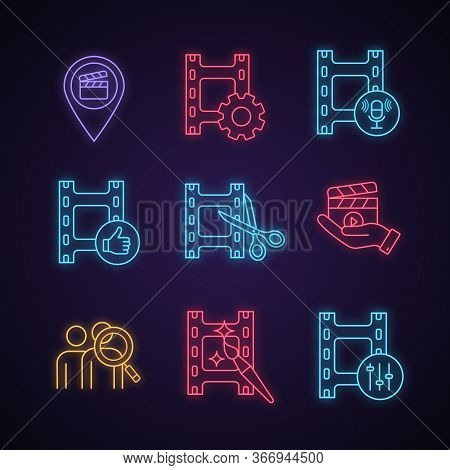 Film Industry Neon Light Icons Set. Locations, Video Settings, Audio Record, Final Cut, Movie Releas