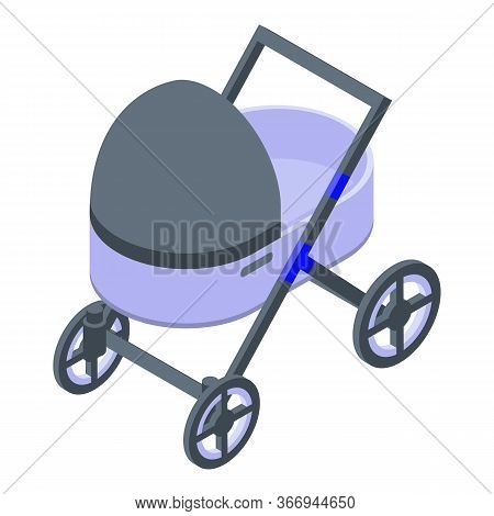 Baby Pram Icon. Isometric Of Baby Pram Vector Icon For Web Design Isolated On White Background