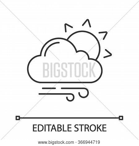 Partly Cloudy And Windy Linear Icon. Sun With Clouds And Rain. Thin Line Illustration. Mostly Cloudy