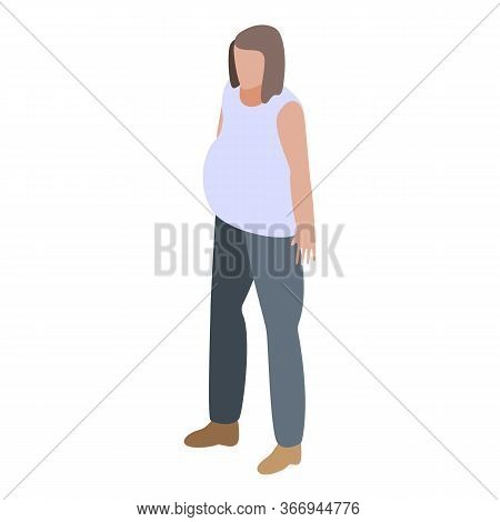 Pregnant Girl Icon. Isometric Of Pregnant Girl Vector Icon For Web Design Isolated On White Backgrou